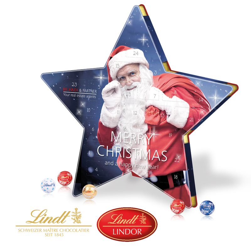 Personalised Lindt Star Shaped Calendar