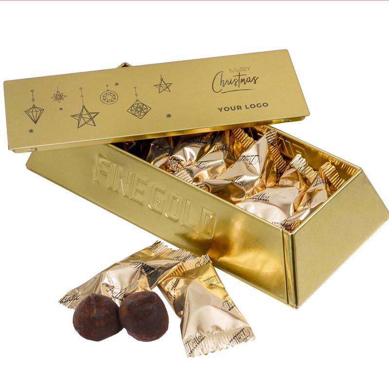 Personalised gold bar tin with wrapped French truffles