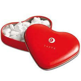 Personalised heart shaped tin with heart shaped mints
