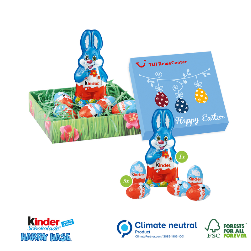 Personalised Kinder Mini Egg and Bunny Easter Nest Box