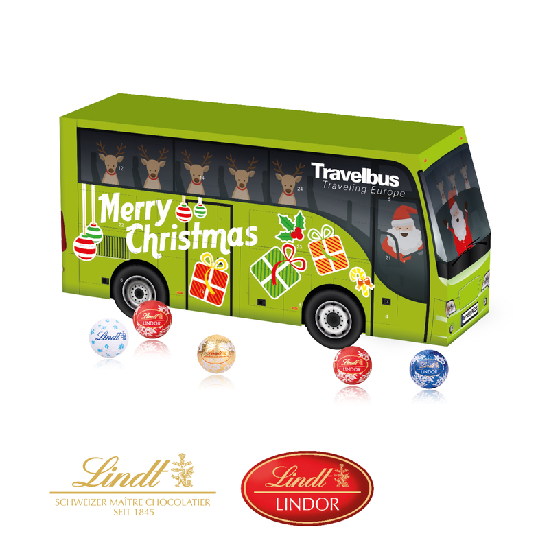Personalised Lindt Christmas Coach shaped gift box