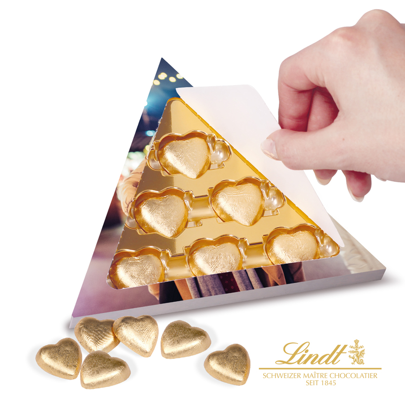 Lindt Hearts Personalised Triangular Gift Box