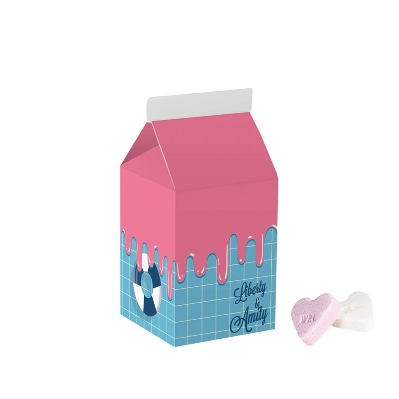 Personalised Small Milk Carton Containing Fruit Hearts