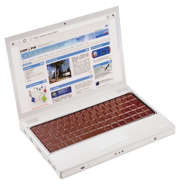 Personalised Laptop style box with moulded chocolate keyboard