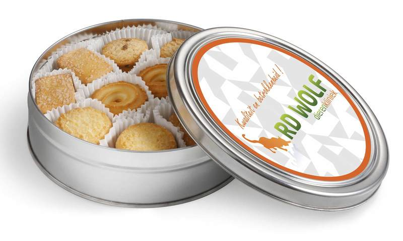 Personalised Silver Tin of Luxury Assorted Danish Cookies