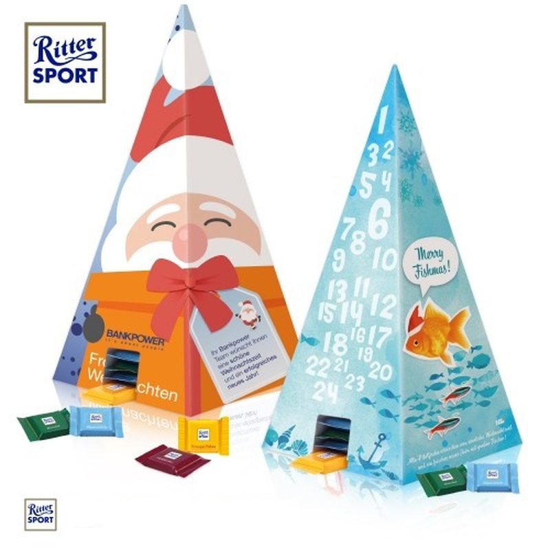 Personalised pyramid shaped Advent calendar Ritter Sport