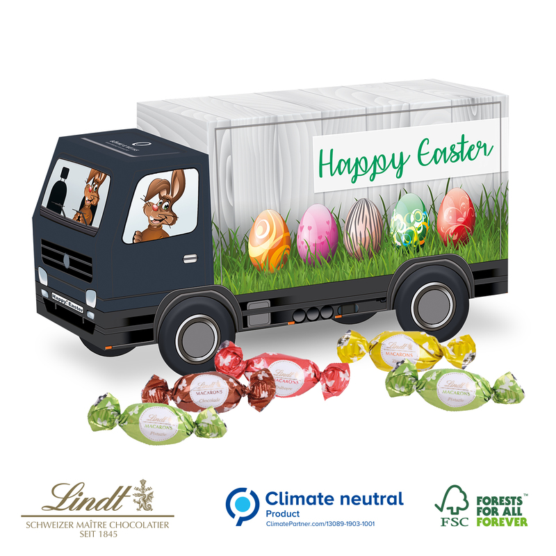 Personalised Truck shaped with Lindt Macaron Easter eggs