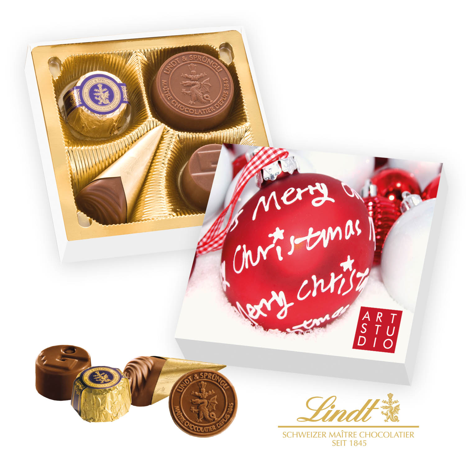 Personalised Lindt 4 Chocolate Gift Box Boxes Lindor Dark