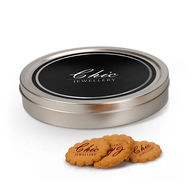 Personalised silver tin of logo cookies