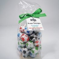 Clear Bags of Chocolate Footballs with Personalised Tags