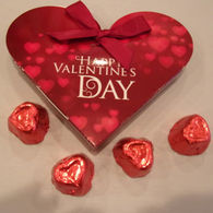 Promotional Heart Shaped Box with 4 Heart Shaped Belgian Chocolates