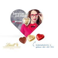 Lindt Heart in Heart Shaped Card