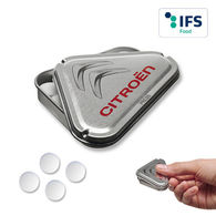 Promotional triangular clip clap mint tin