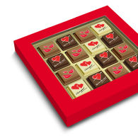 Valentine large box of printed Belgian pralines